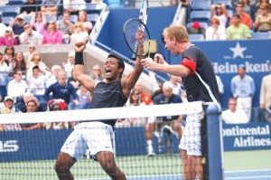 Leander Paes (left) and Lukas Dlouhy celebrate their semifinal win over the Bryan brothers in the US Open. (Photo courtesy: www.usopen.org)