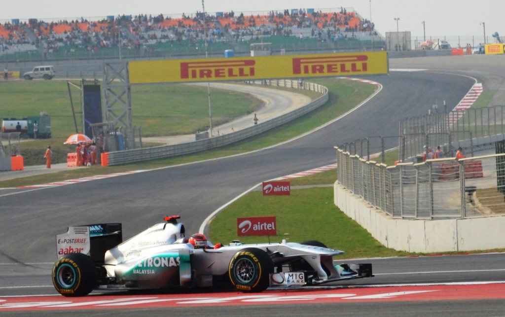 Michael Schumacher steers his Mercedes GP Petronas car on Friday