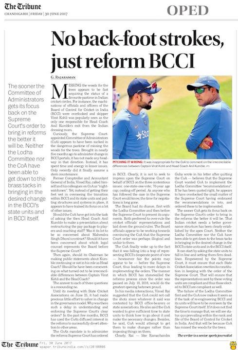 No back-foot strokes, just reform BCCI